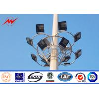 Buy cheap 16 Sides high mast round lighting pole 50 meters With Aotumatic Hoisting System from wholesalers