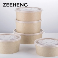 China 32oz 1000ml Oil Proof Bamboo Paper Salad Takeaway Bowls for sale
