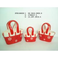 Best Decorative Ceramic Flower Pots Bag Shaped Xmas With Handle 20.3 X 10.5 X 20.8 Cm wholesale