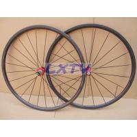 China 24T 20.5mm Tubular carbon fiber bicycle wheels with 3k glossy with DT350s hubs on sale