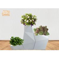 Best Irregular Flower Pots Geometric Shape Floor Vases Glossy White Fiberglass Planters wholesale