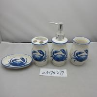 Best Blue And White Porcelain Bathroom Set With Crab Design In Traditional Chinese Style wholesale