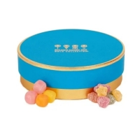 China Silver Foil Stamping 200gsm Candy Round Cardboard Gift Box Golden Rim for sale