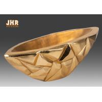 Best Geometric Pattern Gold Leaf Table Vase Flower Pots Fiberglass Decorative Bowl wholesale