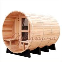Quality 7 Foot By 7 Foot Barrel Shaped Sauna For 3-4 Person , Traditional Sauna Kit wholesale
