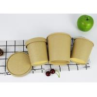 Buy cheap Plain Kraft Wooden Brown Pulp PLA Coated Paper Soup Bowl With Paper Lid from wholesalers