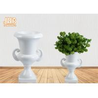 Buy cheap Classic Wedding Centerpiece Table Vases Glossy White Fiberglass Floor Vases from wholesalers