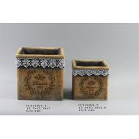 Best Diy Cement Flower Planters Garden Pots With Intaglio Flower And Ribbon Decorated 17.7 X 17.7 X 17 Cm wholesale