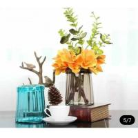 Best Blue Solid Standing Decorative Glass Vases Handmade For Flower House Hotel wholesale