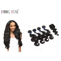 Best 4 Bundles Unprocessed Remy Hair Extensions Weave With Closure No Bad Smell wholesale