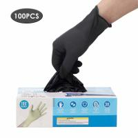 Best Latex Free Disposable Medical Gloves Anti Allergic High Wear Resistant Black Color wholesale