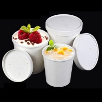 China 8 Oz Eco Friendly Disposable White Paper  Kraft Soup Cup  With Lids for sale