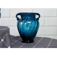 Best Solid Custom Big Glass Vase Decoration , Hotel Blue Handmade Glass Vase wholesale
