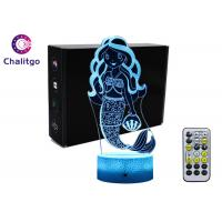 Best Mermaid 3D Night Light Table Lamp , Glass Illusions Lamps For Girls Decoration wholesale
