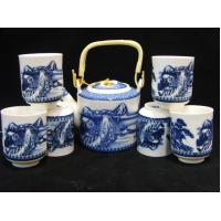 Best Blue And White Fine Porcelain Tea Sets 6 Pieces Tea Cups For Christmas Gifts wholesale
