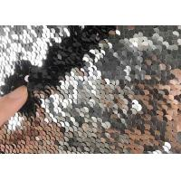 China 5mm Reversible Sequin Fabric / Two Tone Sequin Fabric Satin Black Table Cloth Color Mesh Dress on sale