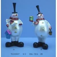 Best Modern Unique Pearl White Polyresin Figurine , Christmas Snowman Figurines wholesale