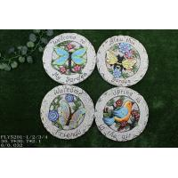 Best Small Ceramic Garden Decorations , Round Stepping Stones With Bird And Flower Design wholesale