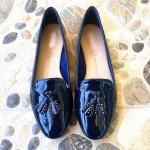 China PU Lining Calf Leather Flat Heeled Shoes 22.5cm-25cm Ladies Leather Loafers for sale