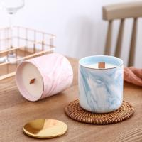Best Luxury Home Scented Candles Ceramic Marble Wooden Wick Candle Jars With Metal Lids wholesale