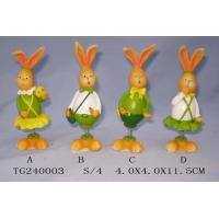 Best Colorful Polyresin Figurine Easter Rabbit Figurines With Spring 4 X 4 X 11.5 Cm wholesale