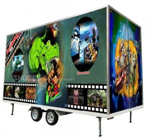 Best Flexible Mobile 5D Cinema With Trailer And 12 Red Motion Electric Seats wholesale