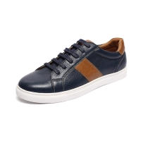 China Navy Brown Antiodor Mens Leather Casual Shoes Microfiber Lining for sale