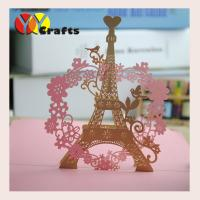 Best Romantic Pop Up Card wedding invitation card laser cut Eiffel Tower elegant wholesale
