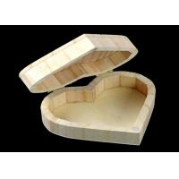 Best Cover Top Heart Shaped Wooden Box , Wooden Crate Gift Box For Rings Wedding Gift wholesale