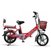 China Red Hybrid Lithium Bicycle Steel Frame Easy Bike Electric Bike 35Km - 40 Km on sale