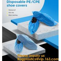 Safety Products Equipment Indoor Disposable medical plastic shoe covers waterproof PE CPE material,PE material blue shoe for sale