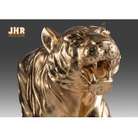 Best Large Gold Leafed Polyresin Animal Figurines Tiger Sculpture Table Statue wholesale