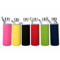 Best 16 Oz Fancy Unbreakable Glass Water Bottle With Stainless Steel Cap wholesale