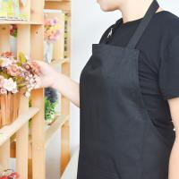 Quality Adult Black Cotton Blend Apron with Adjustable Neck Strap Kitchen Aprons wholesale