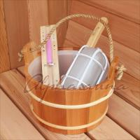 Quality Durable Outdoor Clear Red Cedar Barrel Sauna Room With Bucket And Ladle wholesale