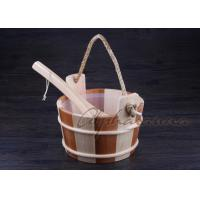 Quality Bottomless Sauna Bucket And Ladle Set Including Plastic Liner For Dry Sauna Accessories wholesale