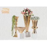Buy cheap Trumpet Gold Leaf Fiberglass Planters With Frosted White Base Pot Planters from wholesalers