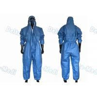 Buy cheap Dark Blue SF Microporous Disposable Protective Coveralls Hooded With Elastic from wholesalers