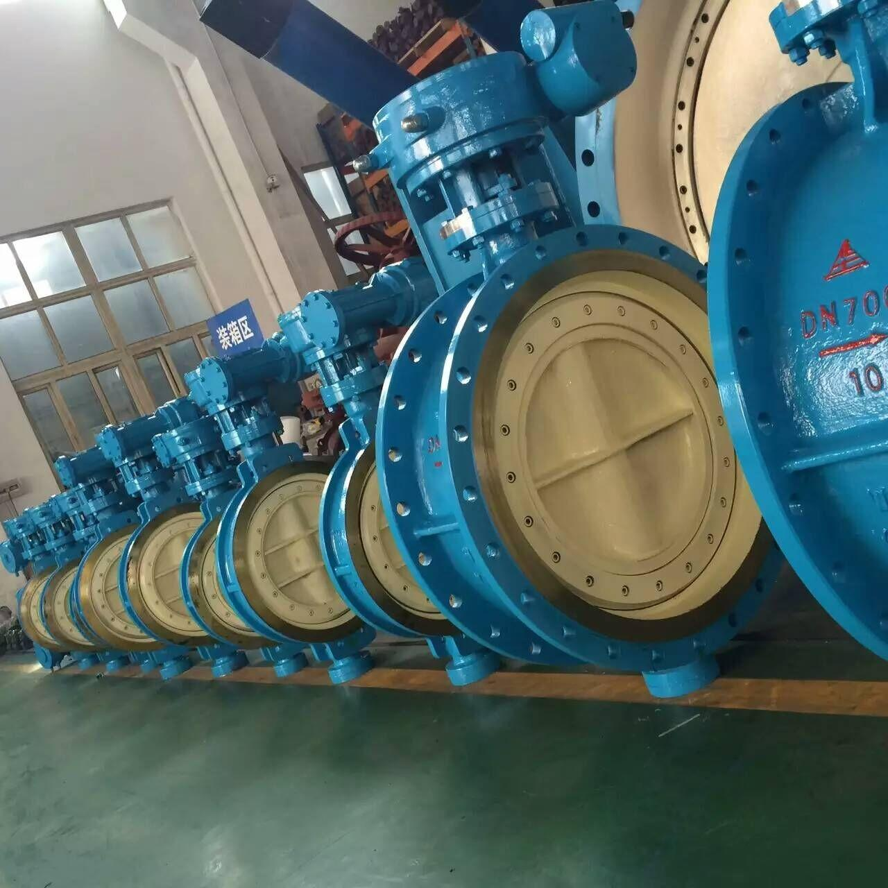 Best DN700 Blue Pneumatic Butterfly Valve / Double Butterfly Valve WCB Material PN 10 wholesale