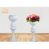Cheap Indoor Flower Pots Wedding Centerpiece Table Vases Glossy White Fiberglass for sale