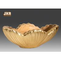 Best Home Decor Gold Leaf Fiberglass Decoration Table Vase Flower Serving Bowl wholesale