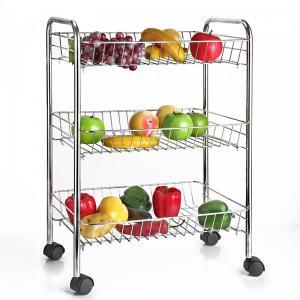 Best H289 Stainless Steel Metal Trolley Cart 3 Tier On Wheel Vegetable / Fruit Rack wholesale