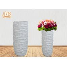 Buy cheap 3 Sizes Unique Geometric Pattern Fiberglass Decorative Planters Glossy White from wholesalers