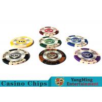 Best 14g Custom Clay Poker Chips With Mette Sticker 3.4mm Thickness wholesale
