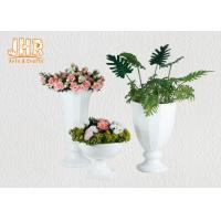 Buy cheap Footed Glossy White Fiberglass Wedding Centerpiece Table Vases 2 Piece from wholesalers