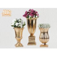 Buy cheap Small Table Vases Fiberglass Flower Pots Gold Leaf Plant Pots Indoor Use from wholesalers