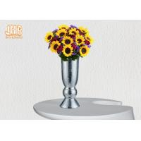 Best Indoor Small Fiberglass Planters Table Vases Silver Mosaic Glass Finish wholesale