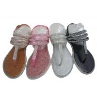 China Rhinestone Thong With 3 Strips Sandal Flat Women Outdoor PVC Crystal Sandals Tiano for sale