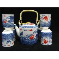 Cheap Durable Traditional Chinese Porcelain Tea Sets Golden Fishes Design For for sale