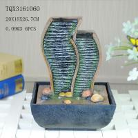 Best Green Polyresin Water Fountain Tabletop Waterfall Fountain With Natural Pebble wholesale